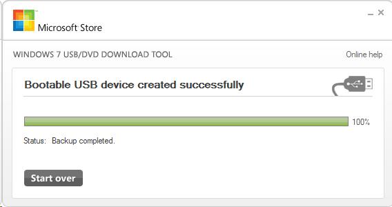 Процесс создания загрузочной флешки Windows 7 через USB DVD Download Tool 7 закончен