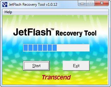 Процесс сканирования флешки JetFlash Recovery Tool