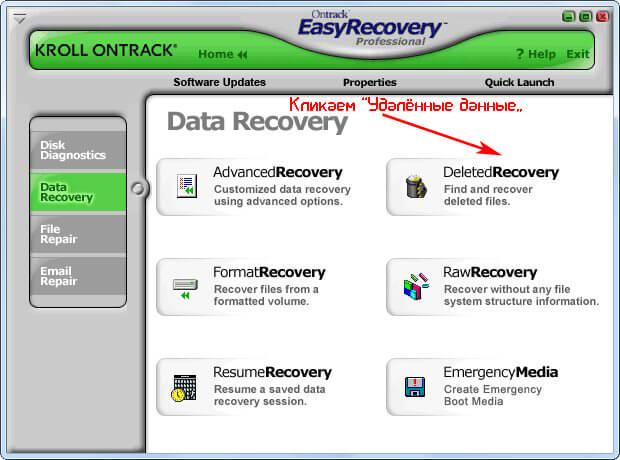 Интерфейс Ontrack EasyRecovery Professional