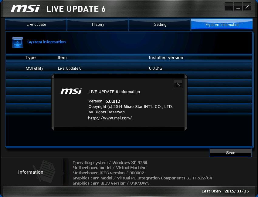Live Update MSI