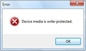 Сообщение об ошибке в HP USB Disk Storage Format Tool