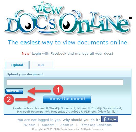 Открытие файла в ViewDocsOnline
