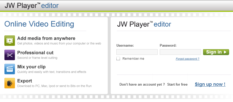 Интерфейс редактора JW Player editor